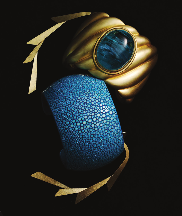 David Yurman  18-Karat yellow gold-Aquamarine sculpted cable cuff available at David Yurman Boutiques