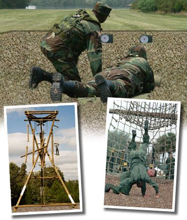 Military training calls for serious protective surfaces. Military rubber mulch is the safety surface of choice for military obstacle courses, ropes, and combat training pits! http://www.rubberecycle.com/military.php
