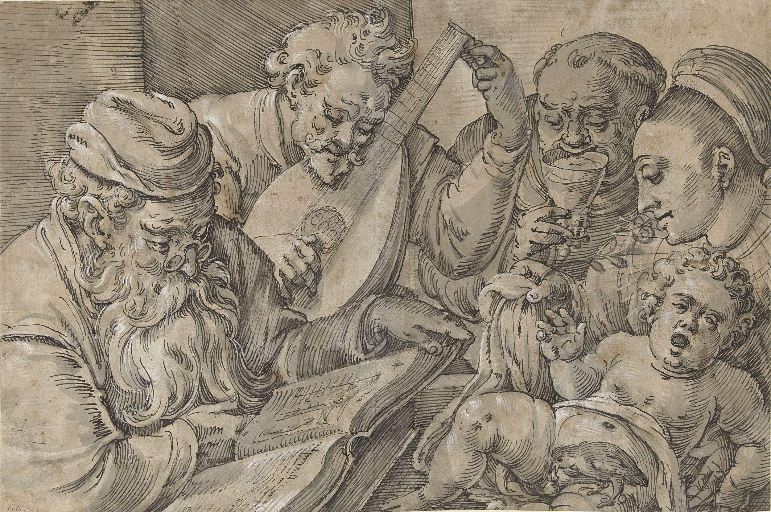 Anton Möller (der Ältere) | De vijf zintuigen (en tevens vijf leeftijden?), Anton Möller (der Ältere), 1578 - 1611 | Een vogel bijt de penis van een klein jongetje (Gevoel); een jonge vrouw ruikt aan een bloem (Reuk); een monnik drinkt een glas wijn (Smaak); een man stemt een luit (Gehoor); een oude man leest een boek waarin een afbeelding van Christus aan het kruis (Gezicht).