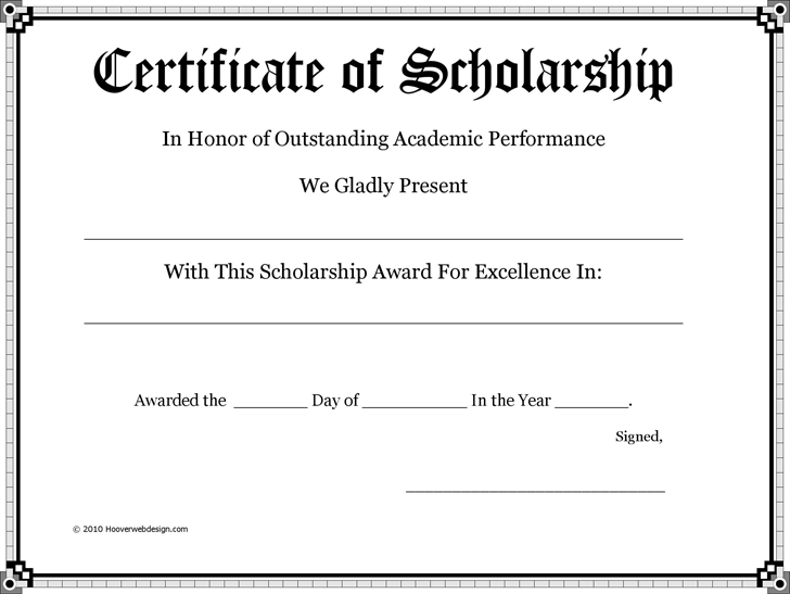 Certificate Of Scholarship  PtoTeacher Gifts