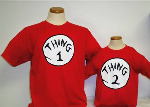 9e171f91d558 Dr seuss Thing 1 2 3 4 5 6 7 8 9 10 t shirt baby toddlers children teens adults  red white twins best