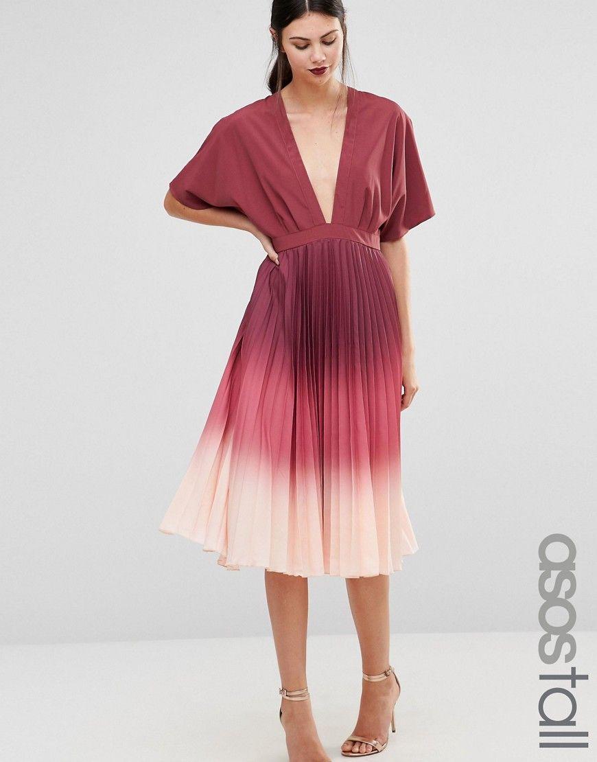 TALL Ombre Pleated Caftan Midi Dress | Pinterest