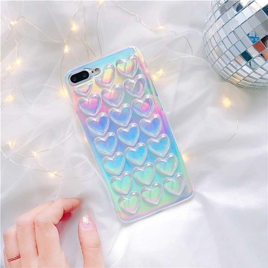 Women Korea Colorful 3D Heart Soft Case Clear Cover Skin For Iphone 7 6 6S  Plus ef444220bf