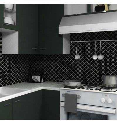 Płytka Czarna Szkliwiona Arabeska Mozaika Do Kuchni I