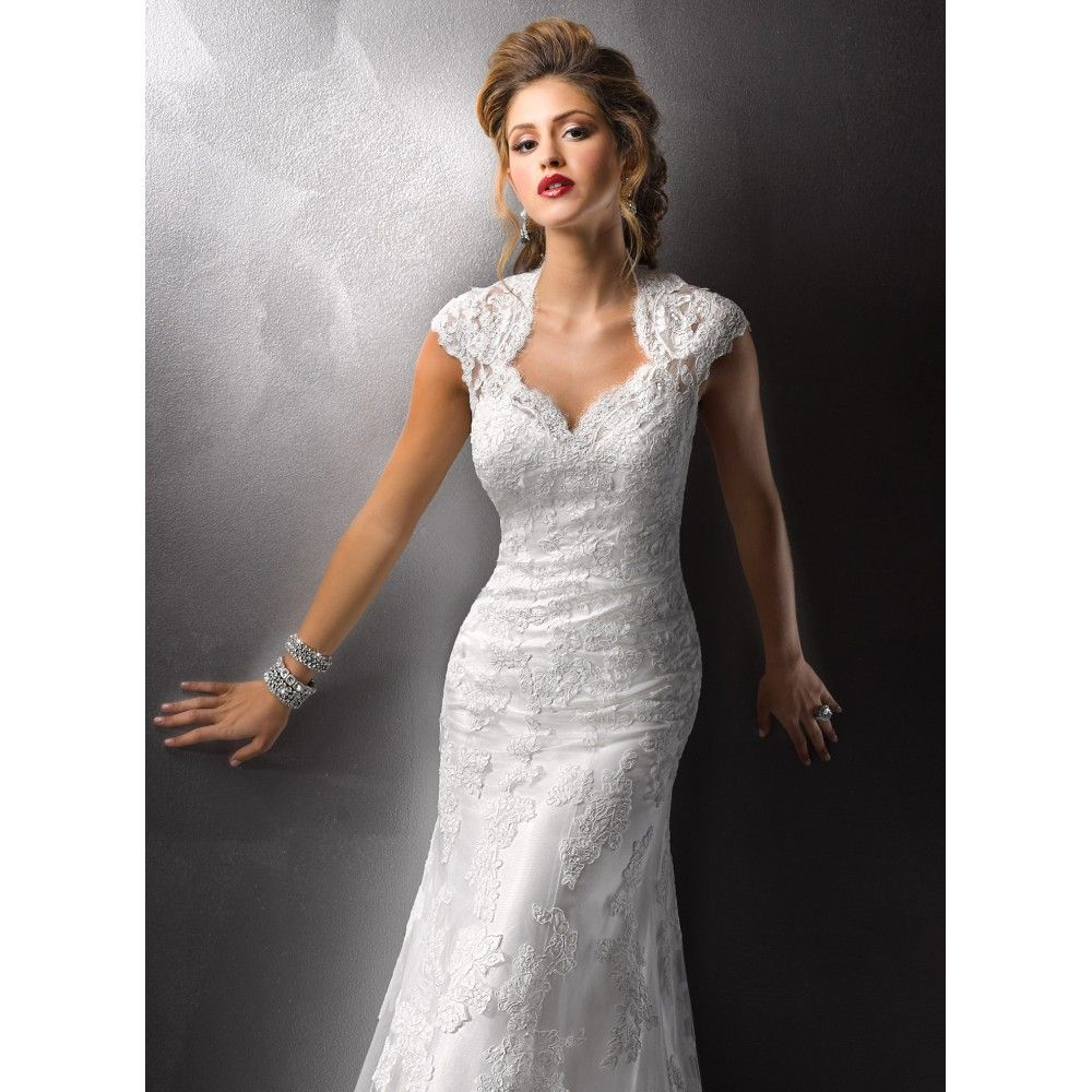 Anna Campbell 2019 Wedding Dresses: Sheath Queen Anne Flower Lace Sashes Tulle Long Ivory