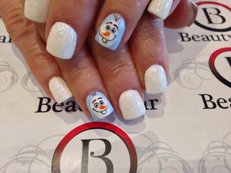 Hand drawn Olaf nails from Frozen by Quynh www.beautybar-inc.com 719 ...