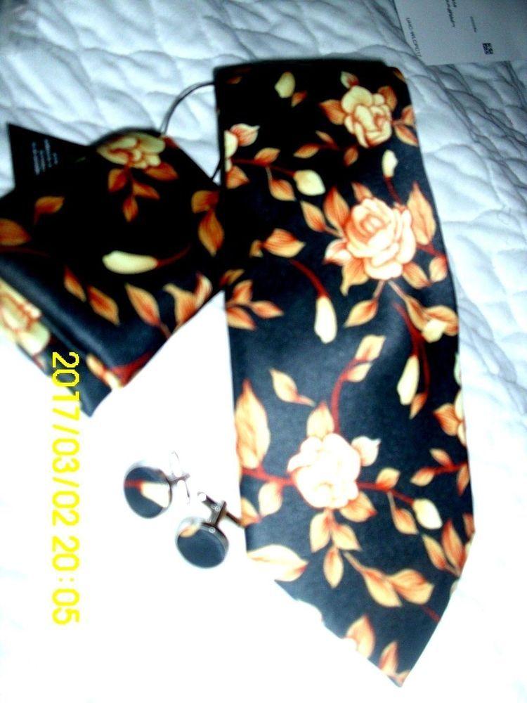 Hi-Tie 100% Silk Neck Tie Set 3 PC. Cufflinks Hankie Tie Black Cream Gold N-1281 #HITIE #TieSET
