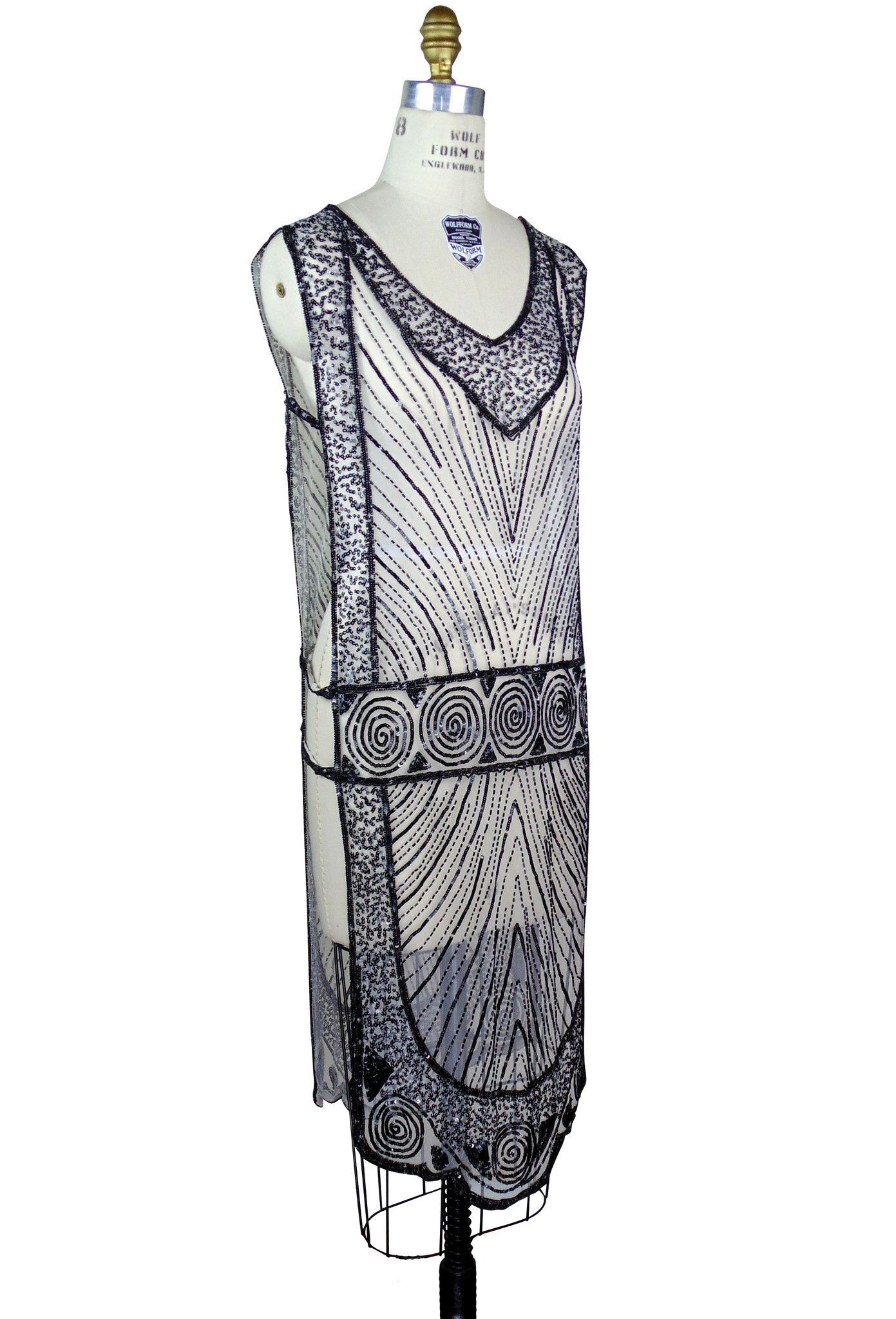 1920\'s Beaded Vintage Deco Tabard Panel Gown - The Modernist - Black ...