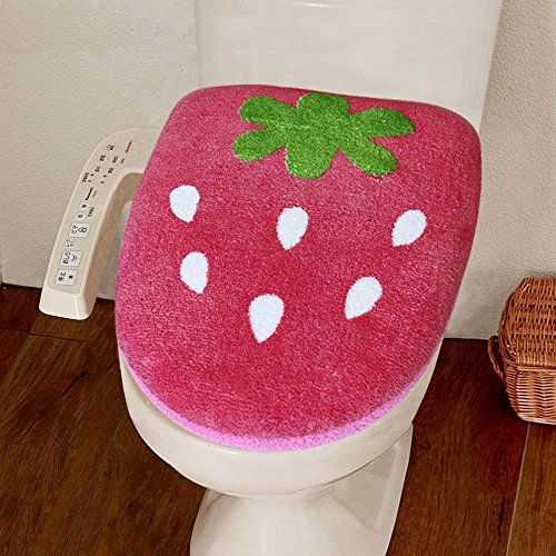 Once ZY Time Lovely Strawberry 3-piece Bathroom Rug Set Washable Bath Mat Set Toilet Seat Lid Covers & U-Shaped Toilet Floor Rug & Toilet Contour Covers Set ...