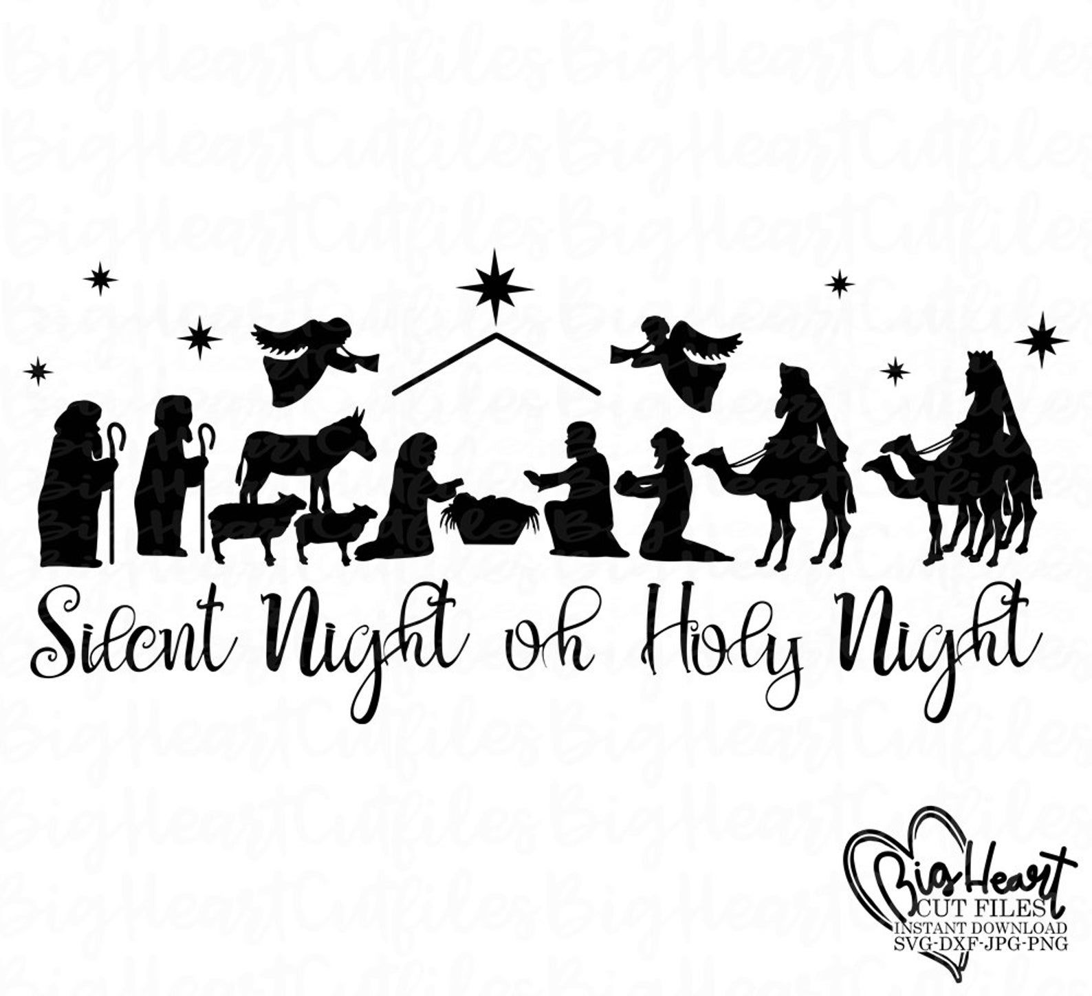 Nativity Scene Svg,Christmas Nativity Svg Silhouette,Holy