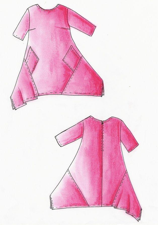 Schnittmuster Kleid Malibu - Lagenlook Größe ... | szycie ...