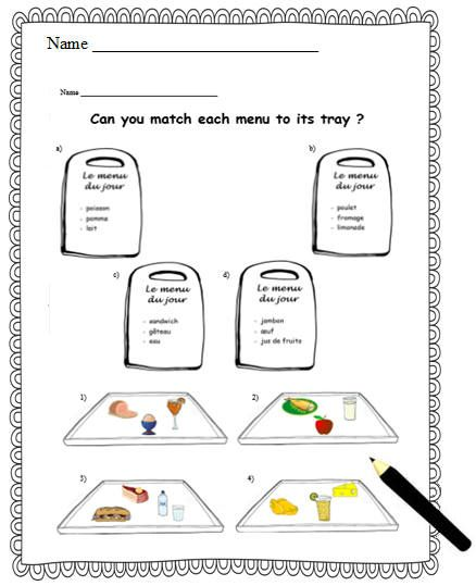 FOOD MENU FRENCH. Activity Worksheet for Primary ...
