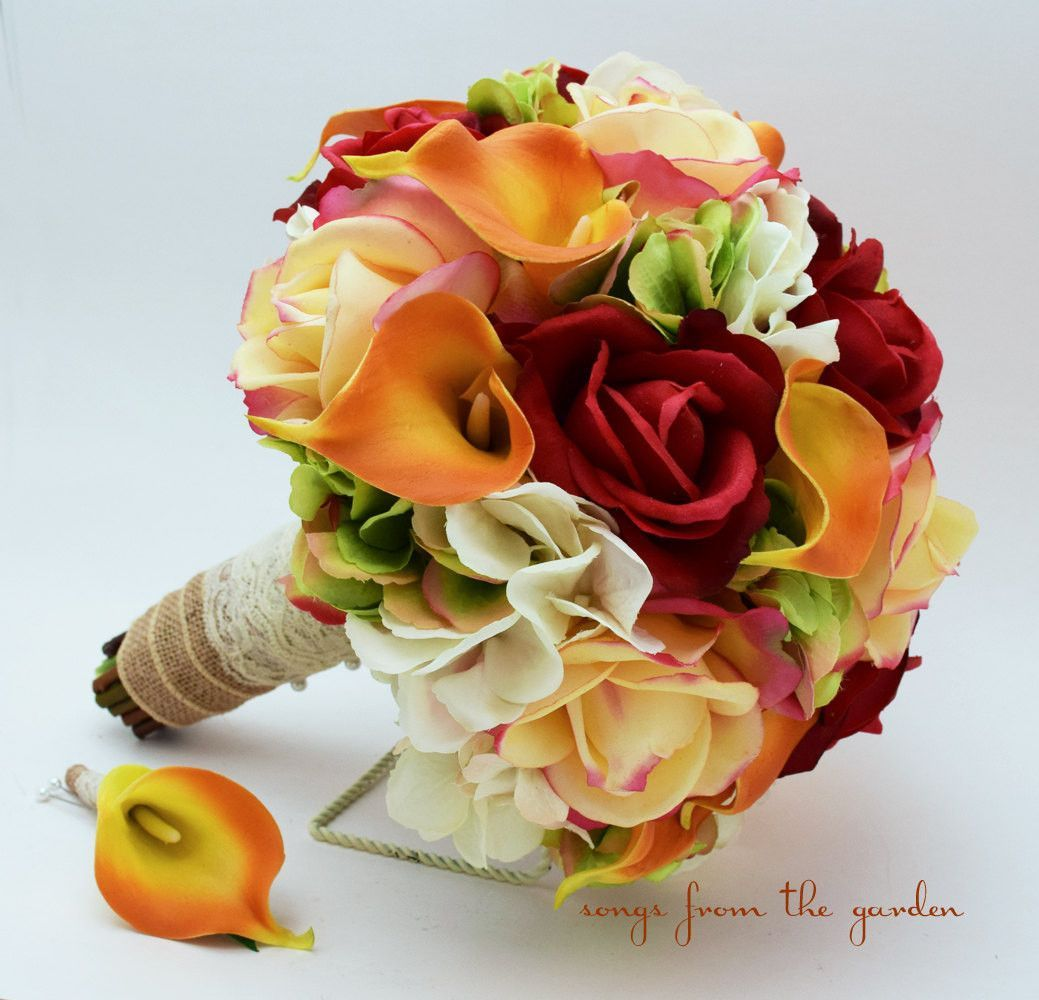 Maroon and cream wedding decor  Autumn Wedding Bridal Bouquet and Groomus Boutonniere  Calla lilies