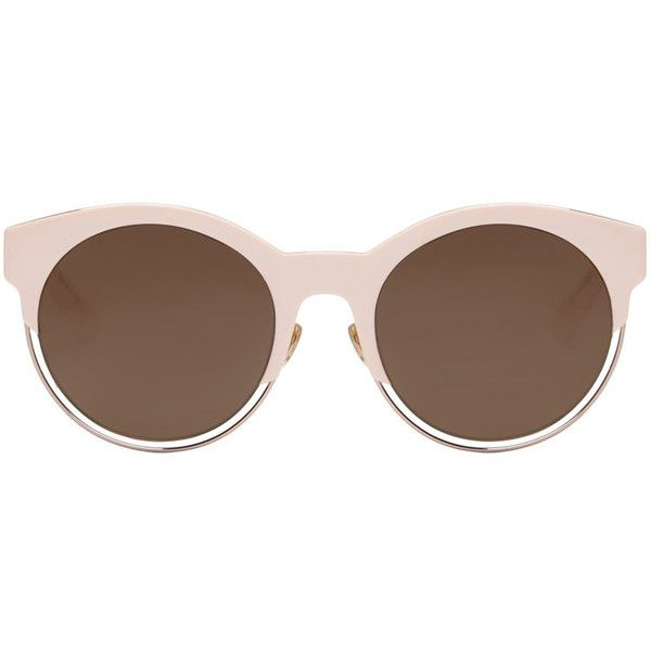 Dior Pink Round Sunglasses (2.610 DKK) ❤ liked on Polyvore featuring accessories, eyewear, sunglasses, glasses, occhiali, pink, christian dior sunglasses, uv protection glasses, round frame glasses and logo sunglasses