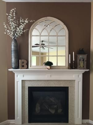 Distressed Cream Sadie Arch Mirror Above Fireplace Decor