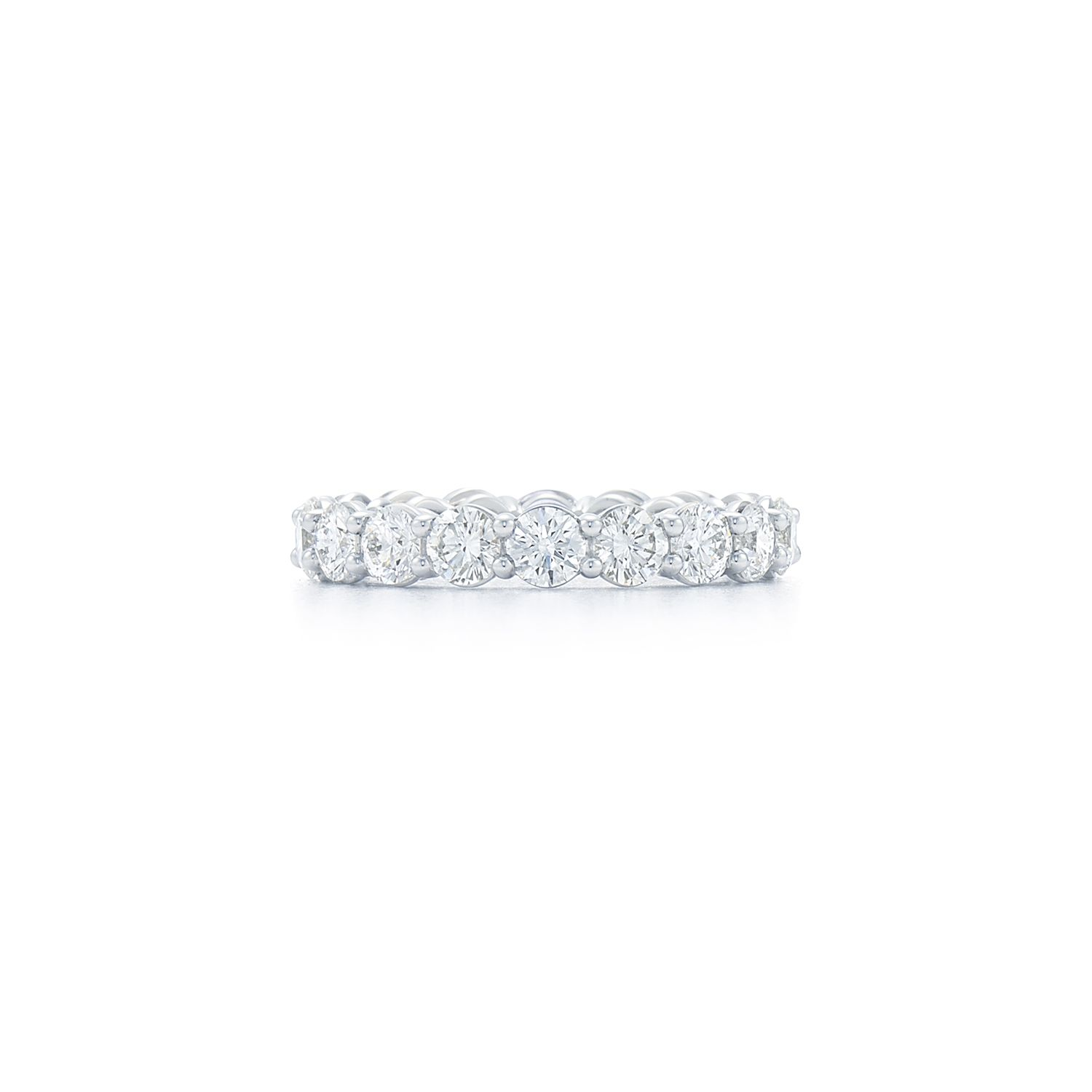 The Kwiat round diamond shared prong eternity band set in a
