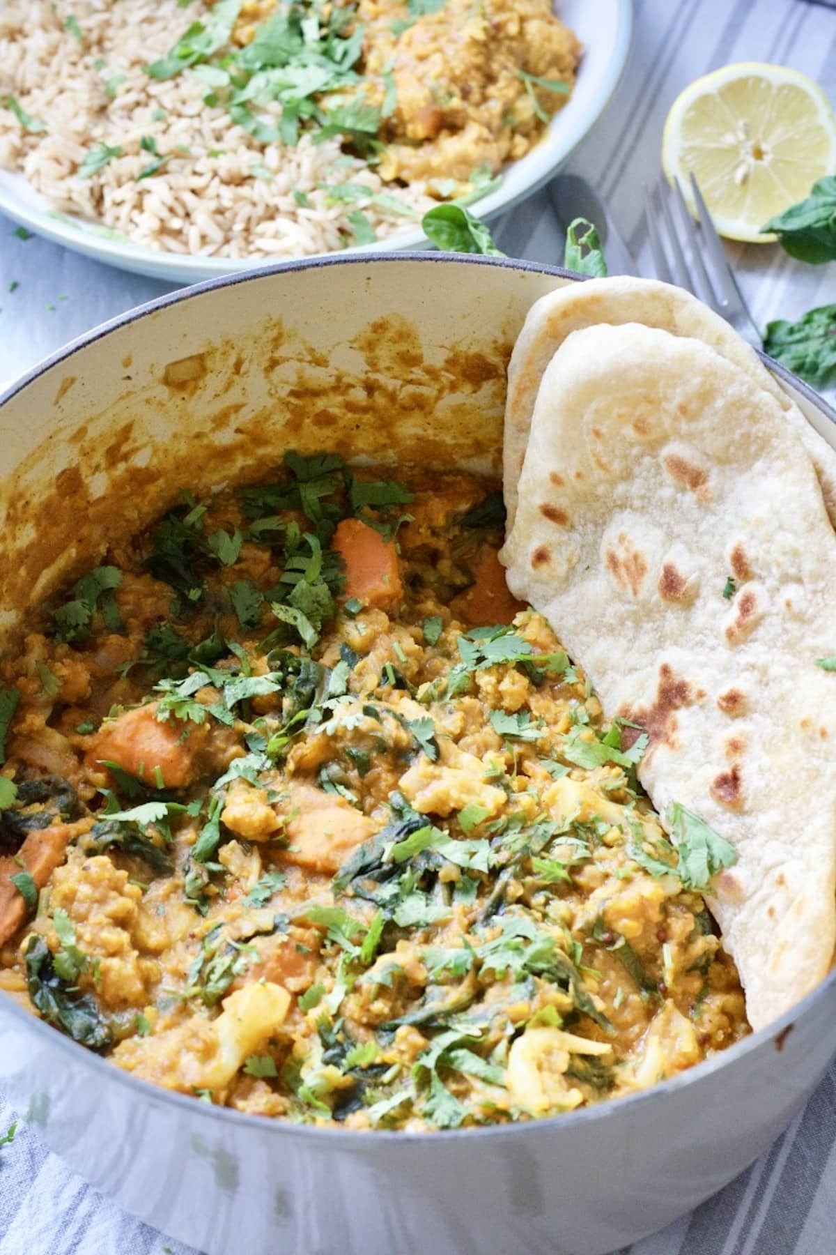 Easy Cauliflower Lentil Curry Vegan