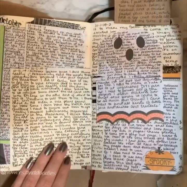 Journal Flipthrough with added pages for October  #artjournalinspiration