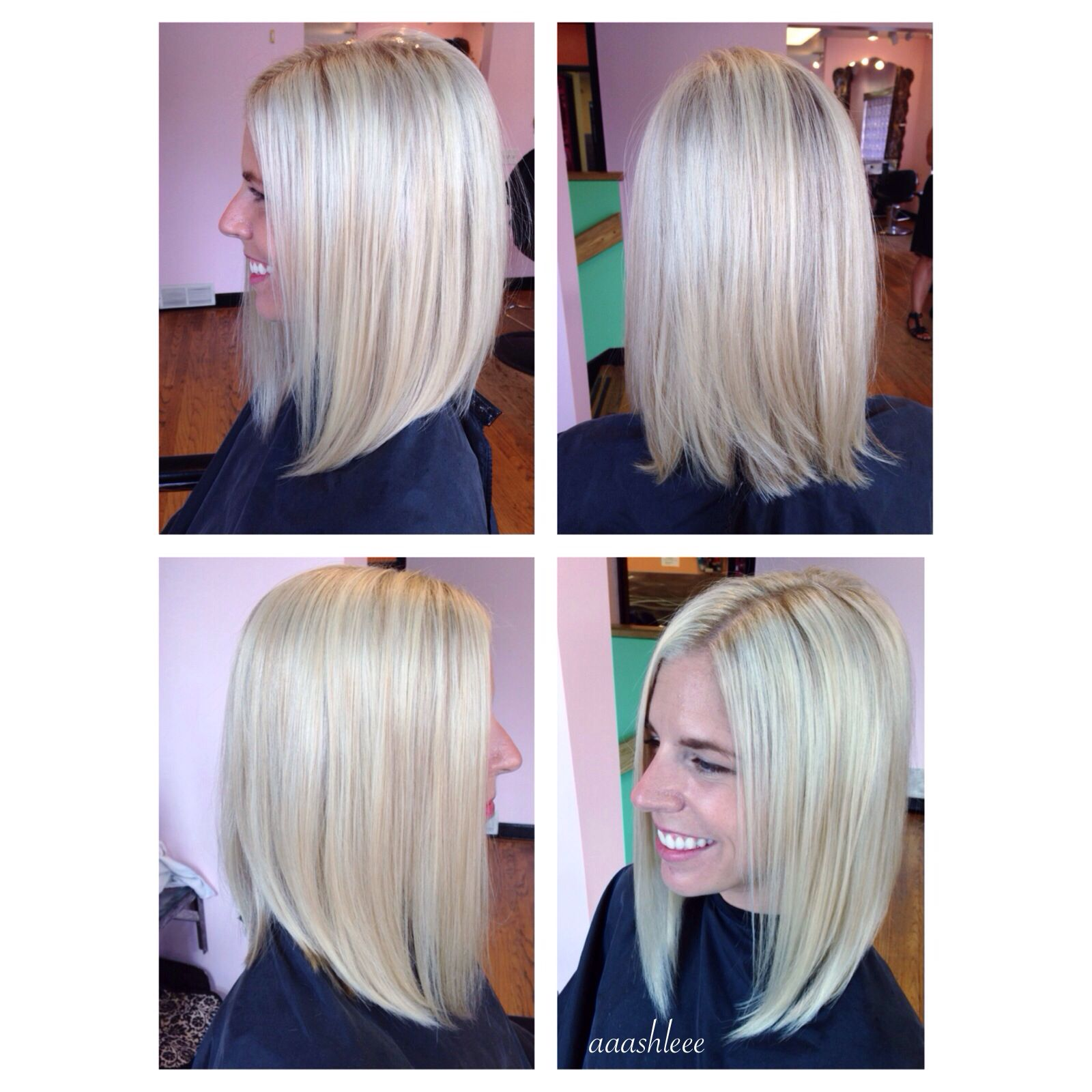 Highlights platinum long bob blonde