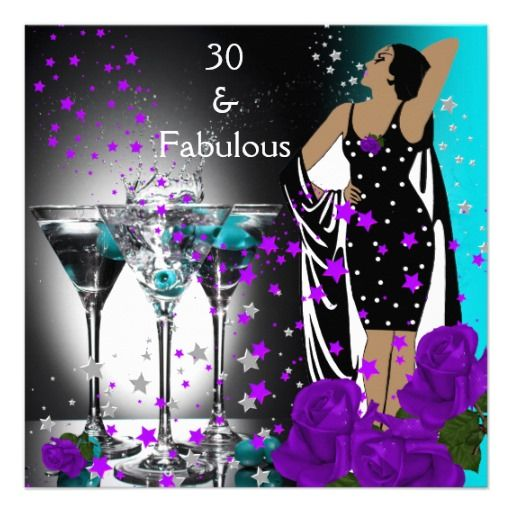 Fabulous 30 30th Birthday Teal Purple Roses Card