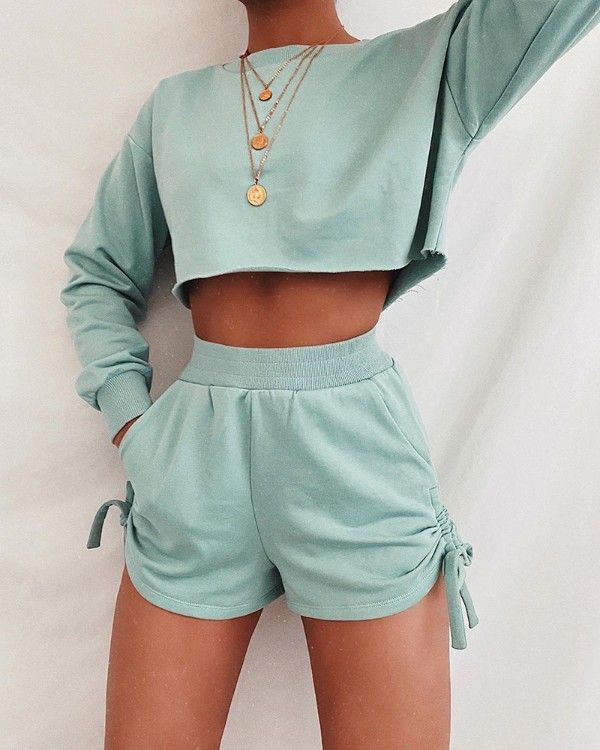 Solid Long Sleeve Crop Top & Drawstring Shorts Set