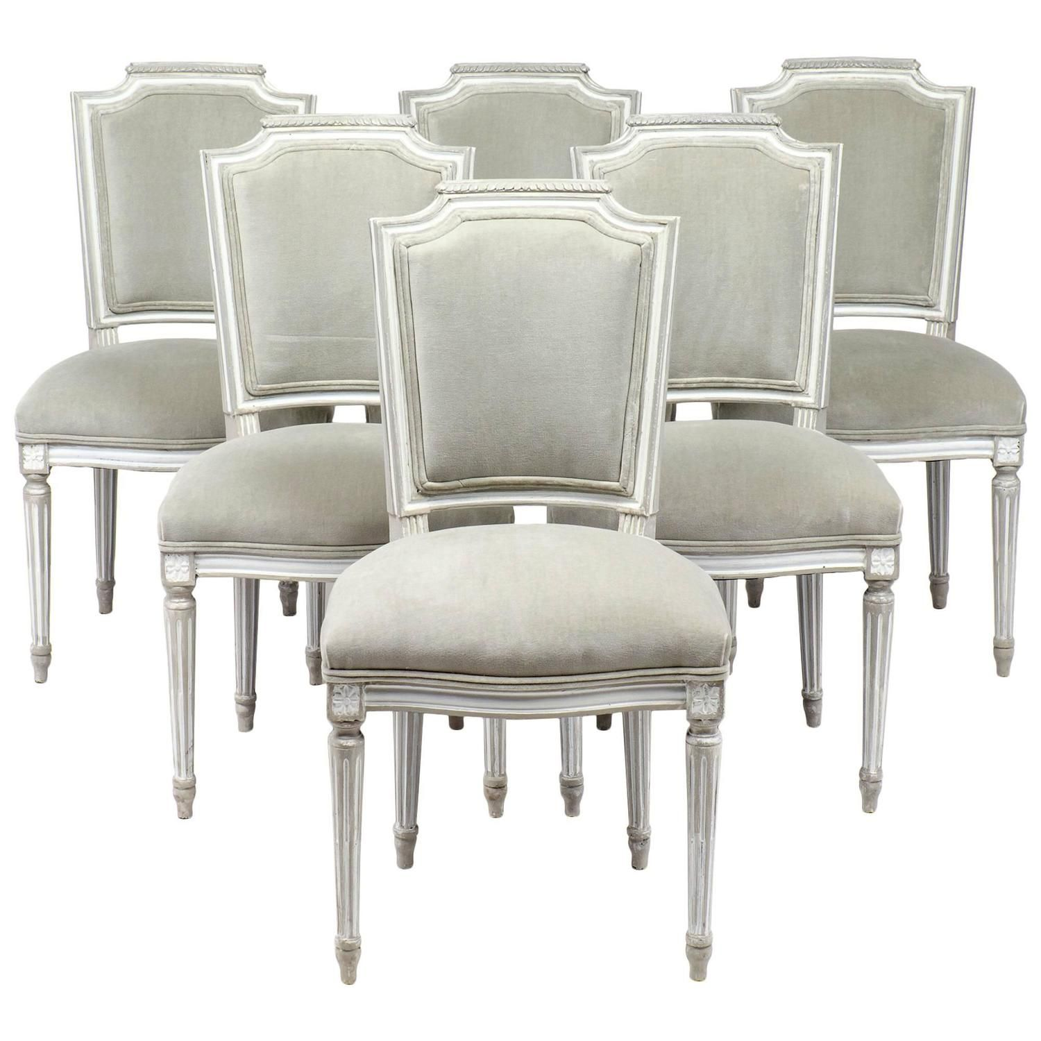 Antique louis xvi style set of six dining chairs 1stdibs