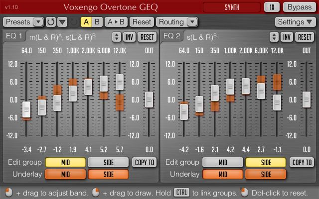 Voxengo Overtone Geq Plug In Graphic Eq With Mid Side