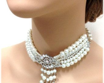 Wedding jewelry, bridal choker, bridal necklace, bridal jewelry, crystal jewelry,pearl jewelry, Victorian necklace