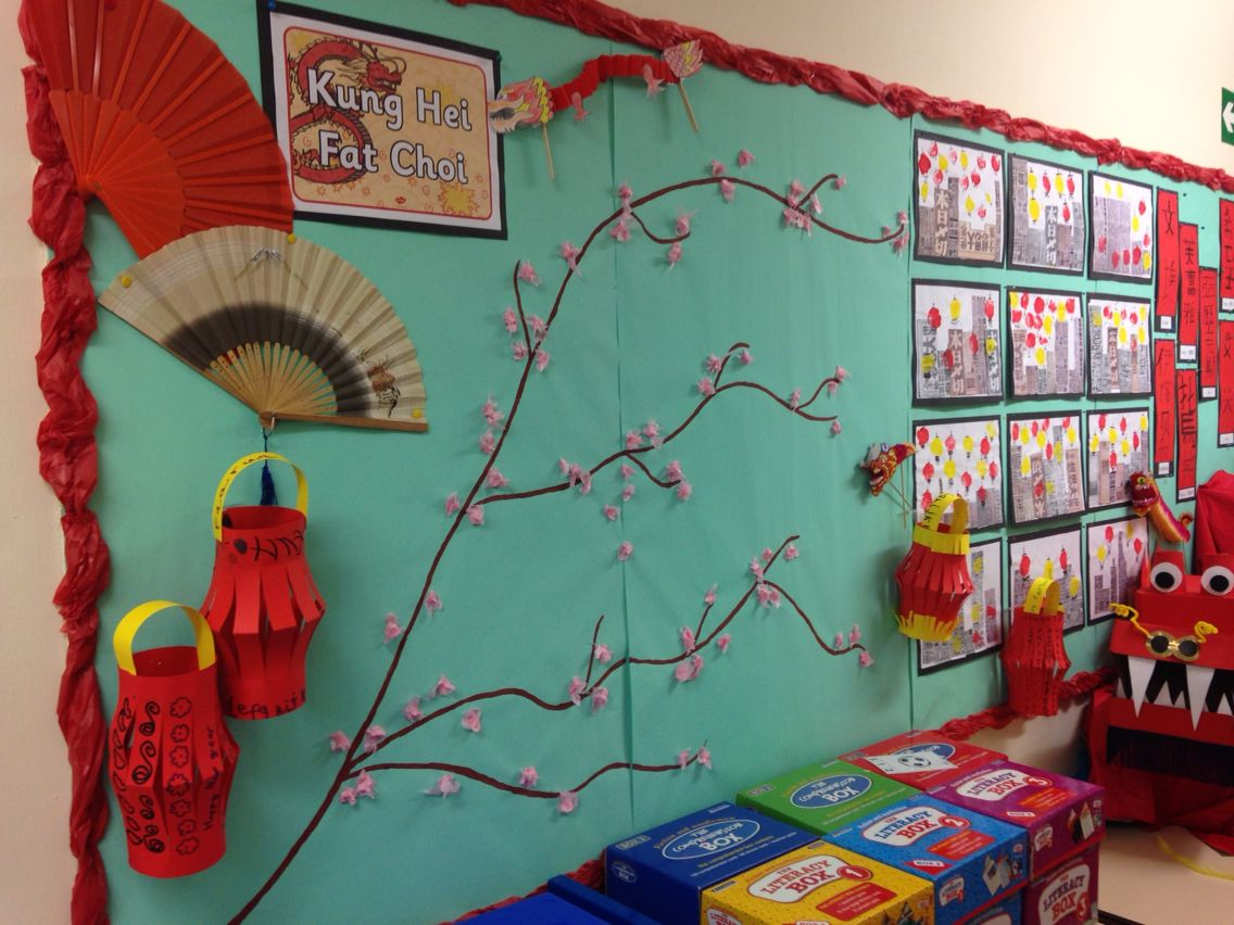 Chinese display bulletin board … | Chinese new year crafts ...