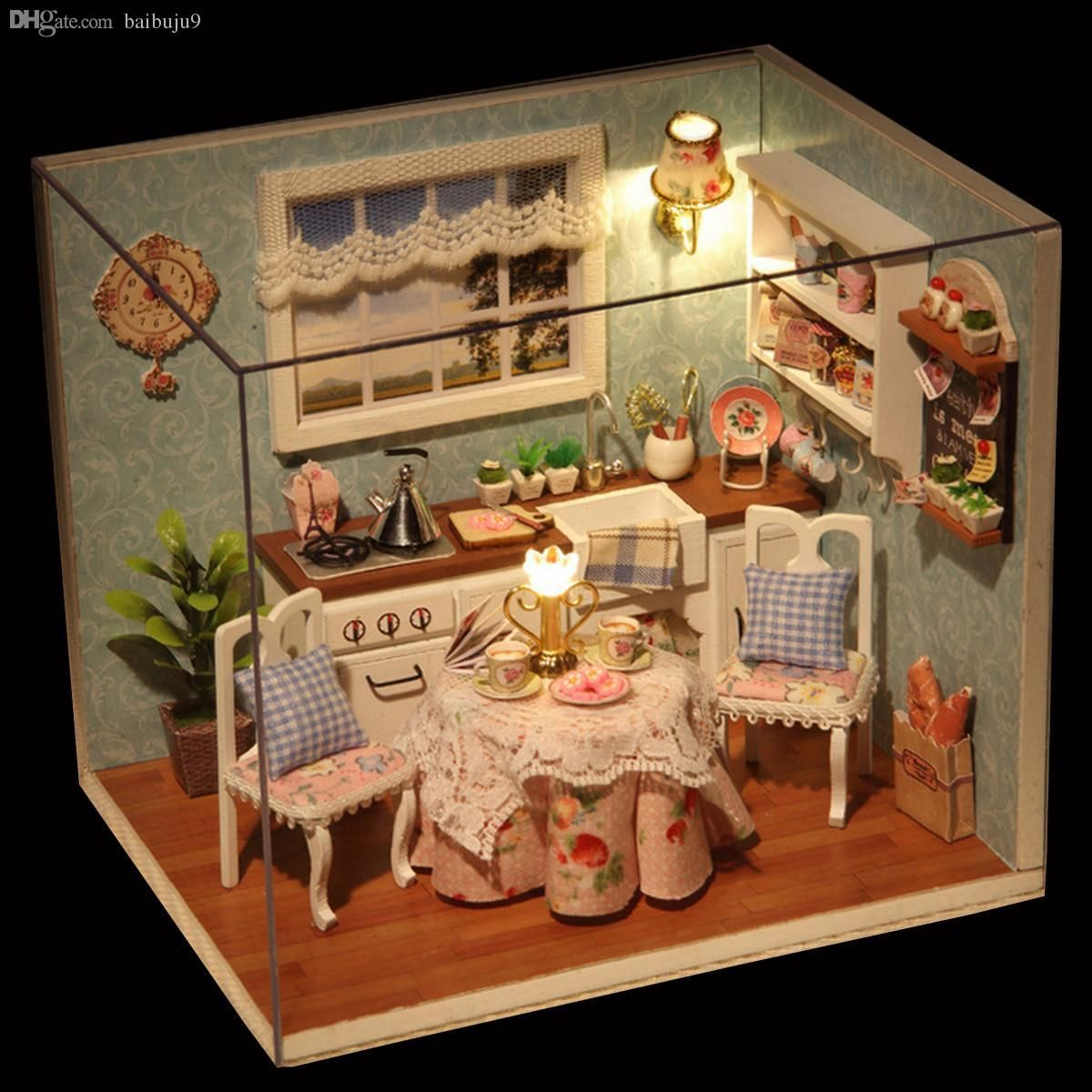 Wholesale Diy Wooden Doll House Toys Dollhouse Miniature Box Kit With Cover  And Led Furnitures Handcraft Miniature Dollhouse Kitchen Model Dollhouse  Babies ...