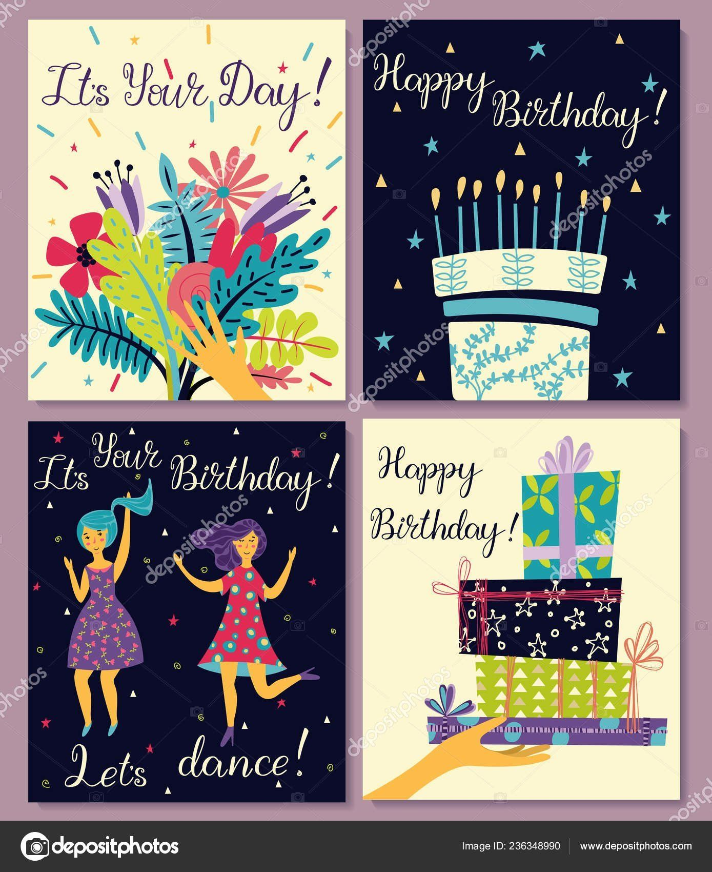 Happy Cake Day Lovely Birthday Cards Set Bouquet Flowers