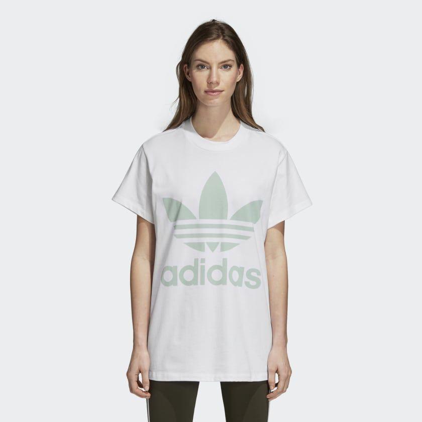 Big Trefoil Tee White Blush Green DH4428 | T shirts for