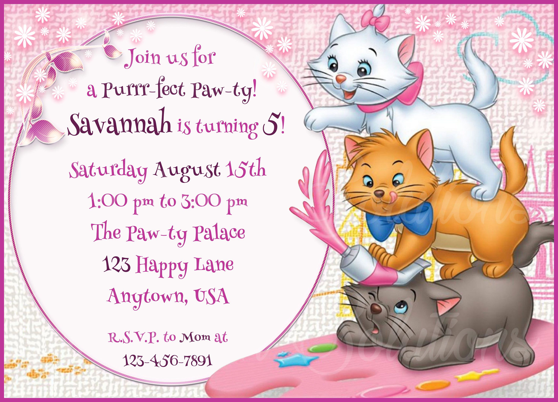 Party Supplies Aristocats Birthday Invitation Cats Marie the cat Aristocats