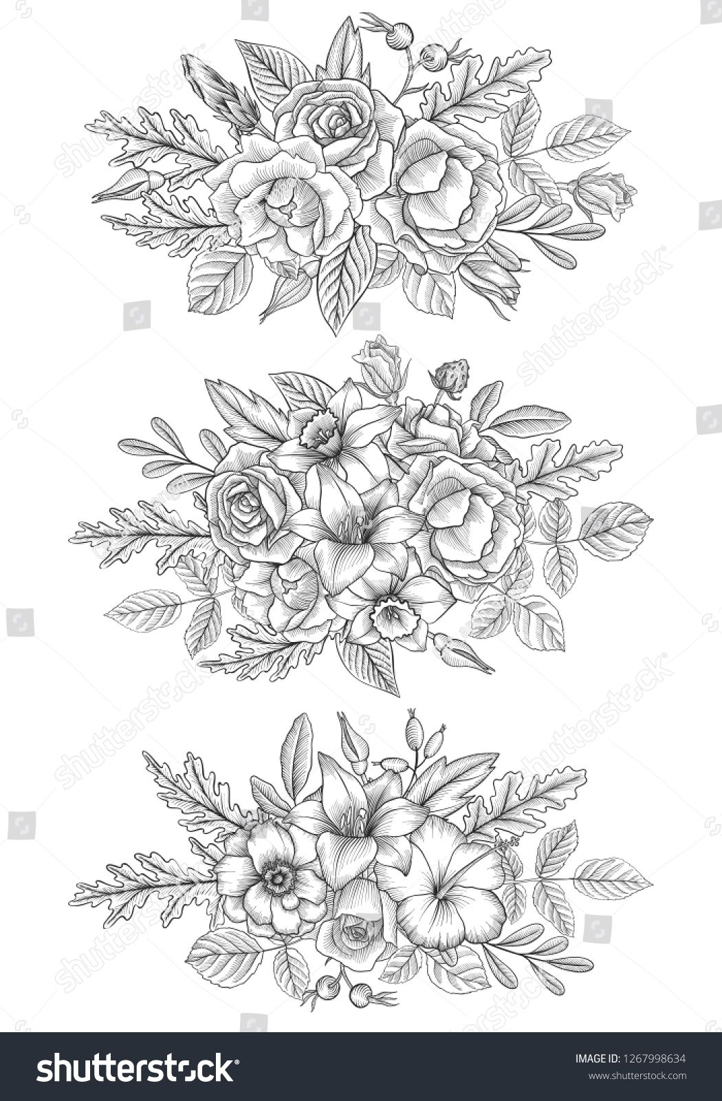 Vintage Vector Floral Composition With Flowers Buds And Leaves Of Roses Imitation Of Engraving Hand Drawn Design El Vintage Hand Drawn Design Design Element