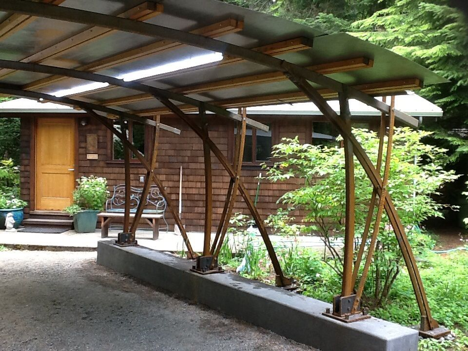 Finished Carport Forged Steel Columns And Struts Metal Roof Led