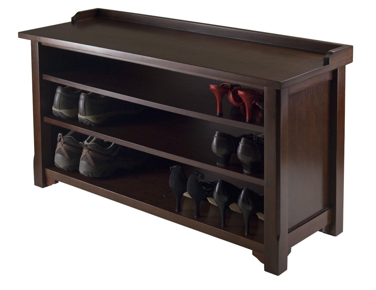 entryway bench with shoe storage walnut seat shelf hall rack furniture mudroom ebay