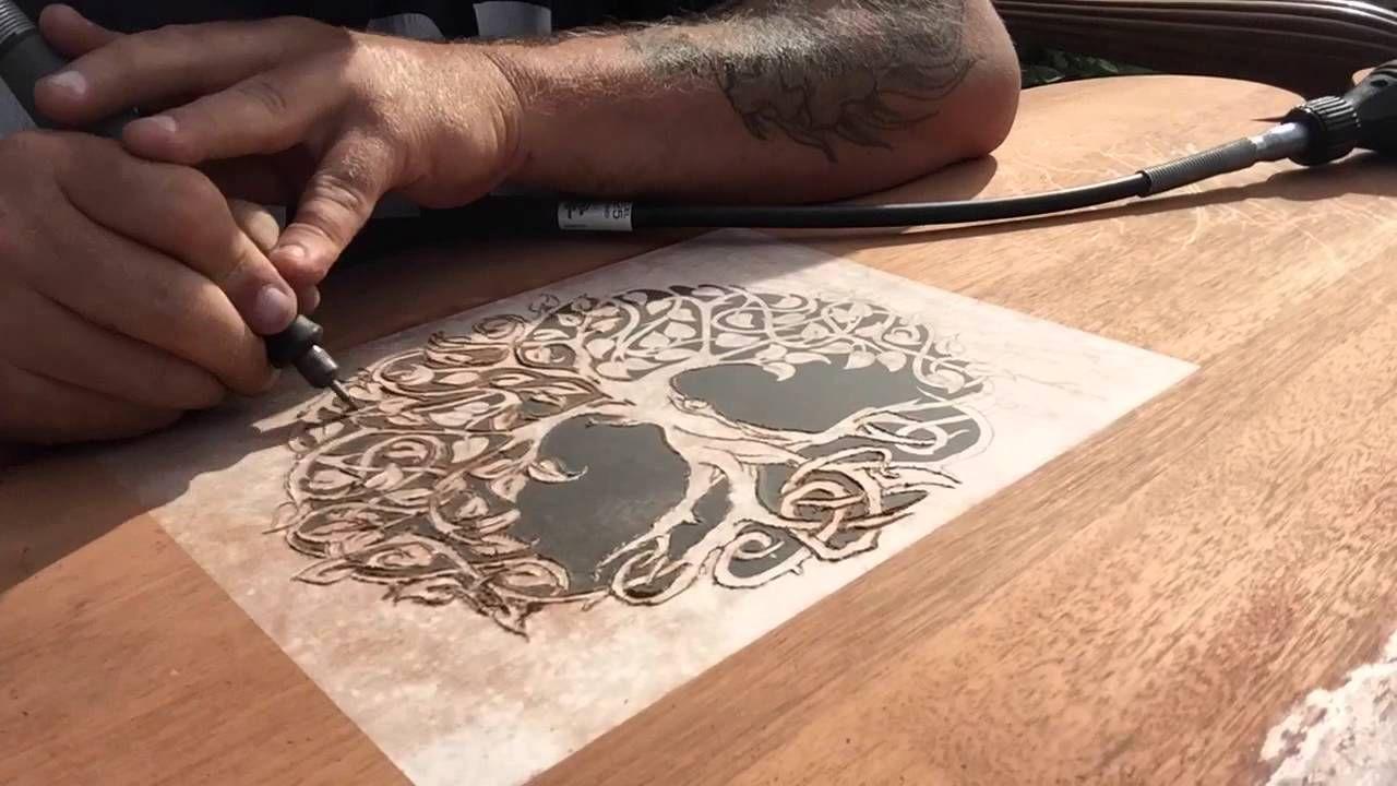 Dremel wood carving project headboard part