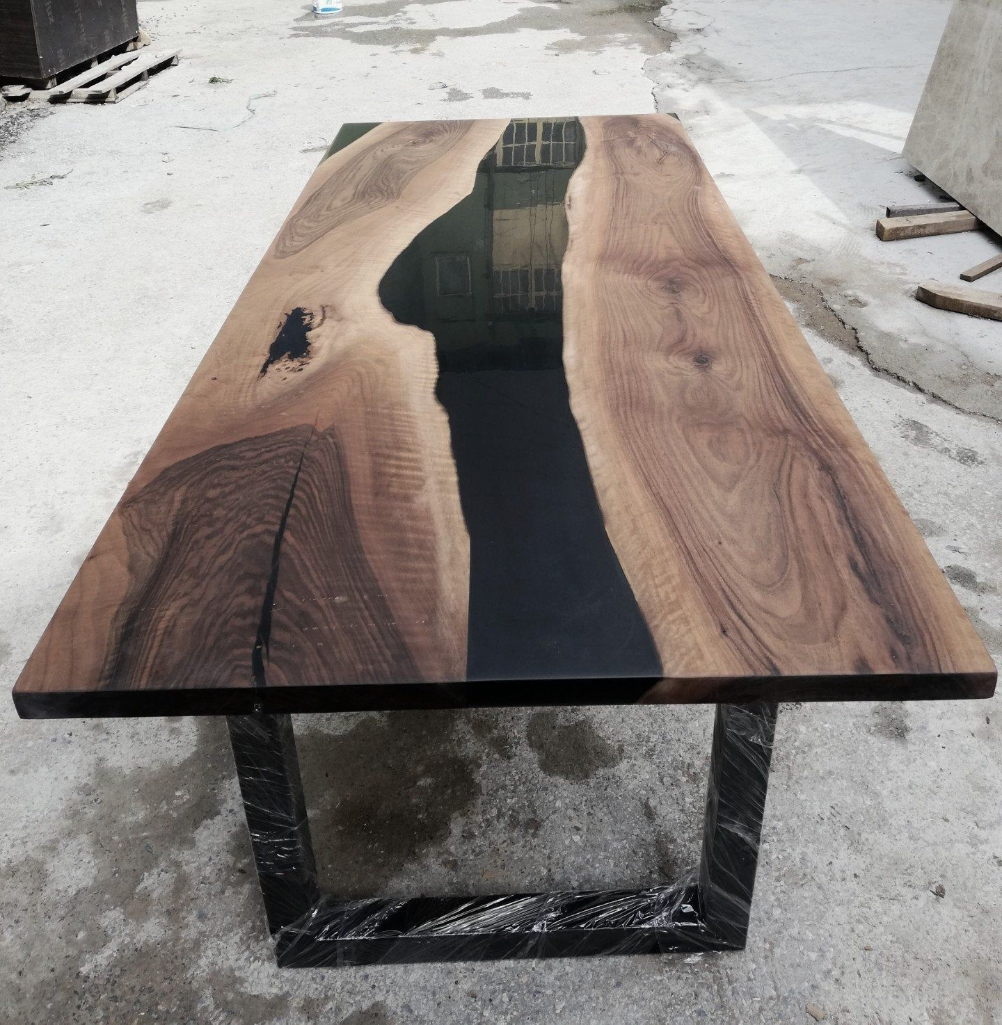 Black Epoxy Resin River Table Epoxy River Table Walnut Dining