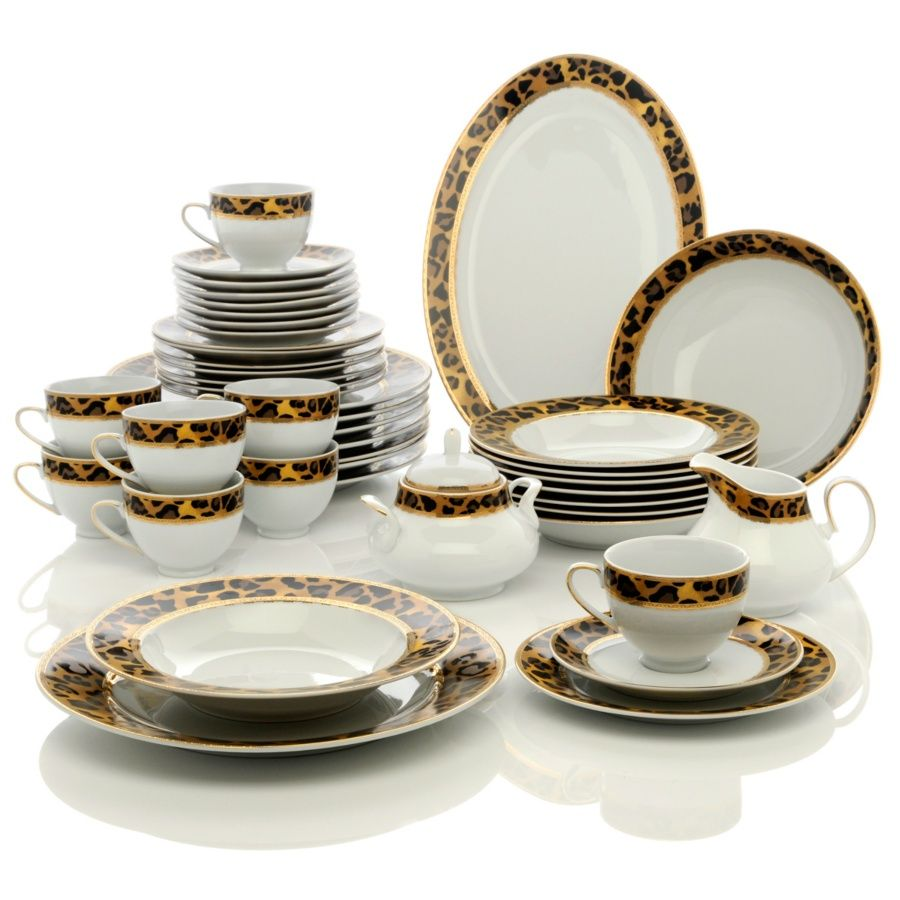 Highgate Manor Leopard Print Chic 44 Piece Porcelain Dinnerware