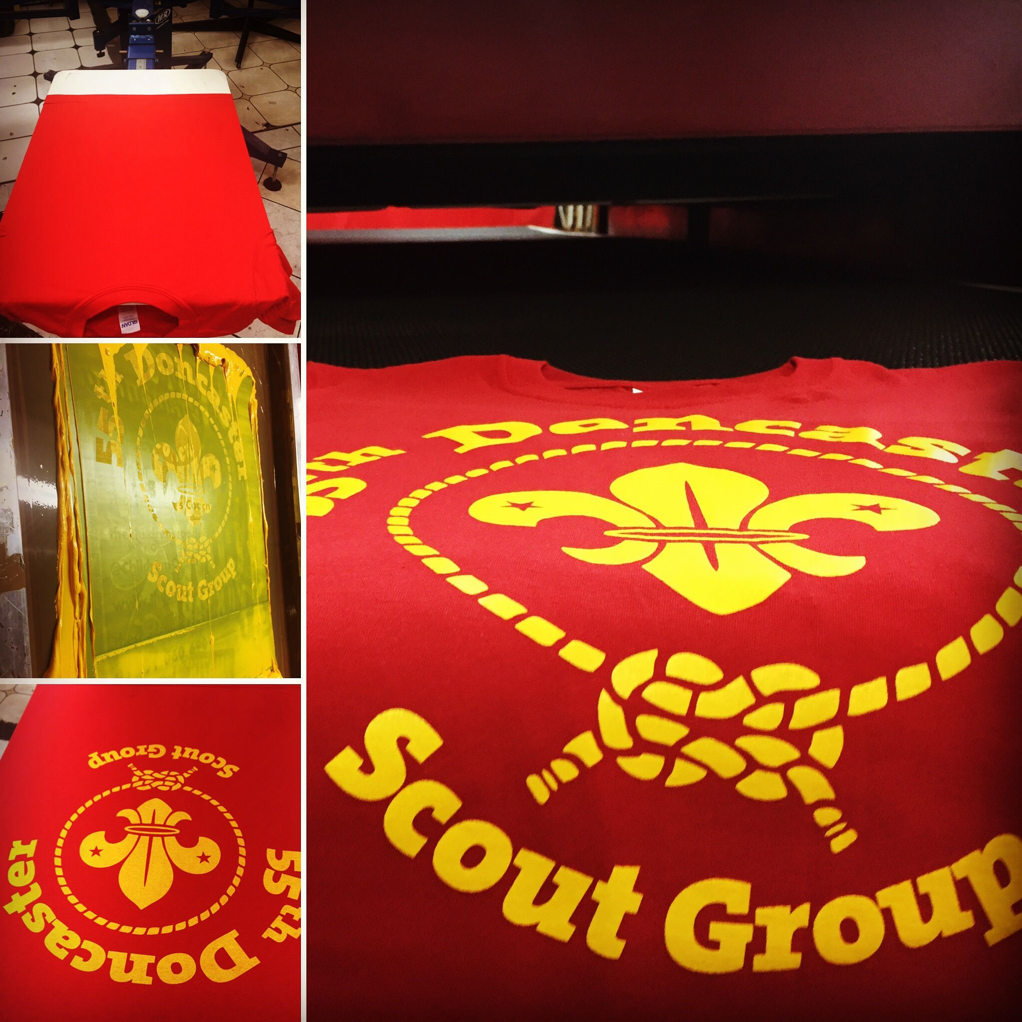 Some t-shirts for 55th Doncaster Scout Group! Bold and effective yellow on red screen print. #screenprinting #scout #tshirts #red #yellow
