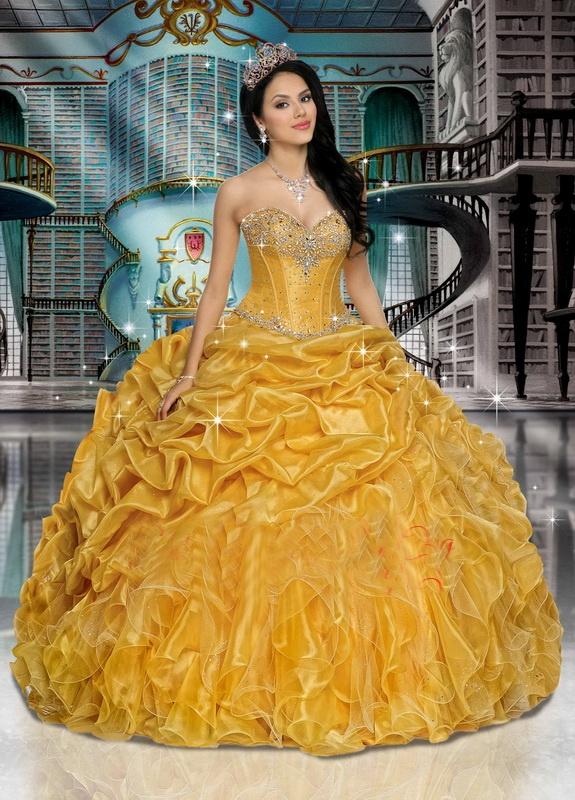 light yellow belle quinceanera dresses
