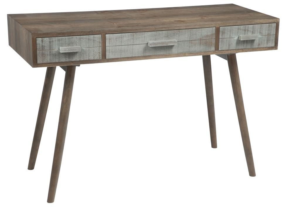 Bureau bois gris et naturel tiroirs cm forest