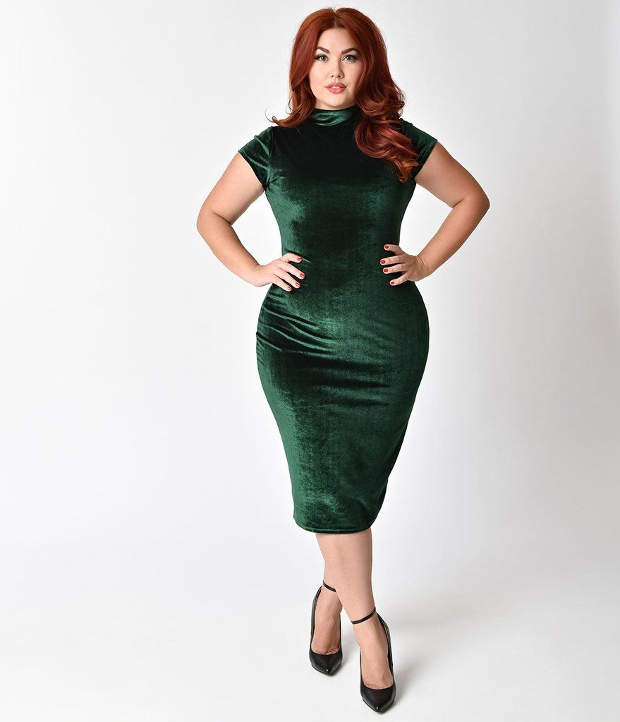 e7a1bb38fa3b Unique Vintage Plus Size 1960s Emerald Green Velvet Stretch Knit Cap Sleeve  Holly Wiggle Dress