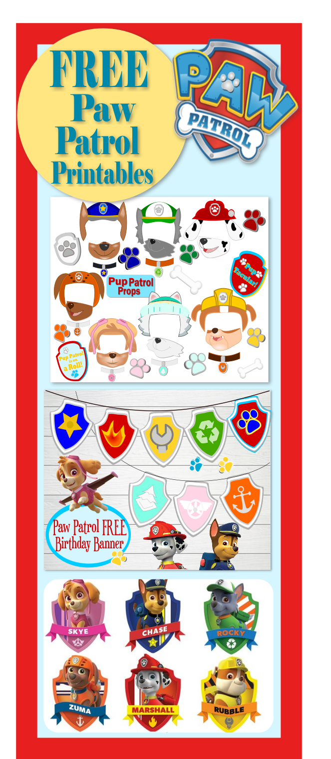 free printables for paw patrol party free paw patrol photo props kid 39 s birthday party ideas. Black Bedroom Furniture Sets. Home Design Ideas