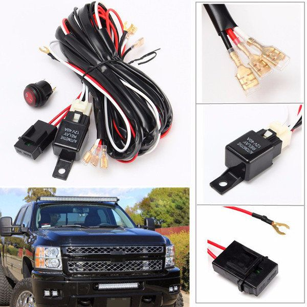 US$1456 40A 300W Relay Fuse LED Light Bar Wiring Harness ON/OFF