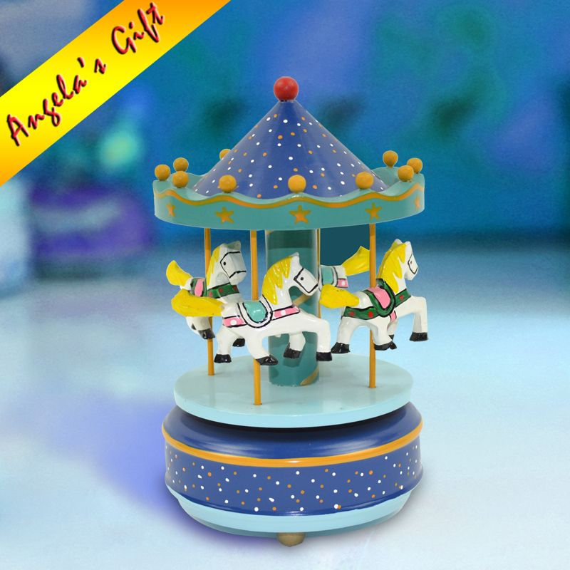 Blue Star Carousel music box merry-go-round wooden Christmas gift - christmas carousel decoration