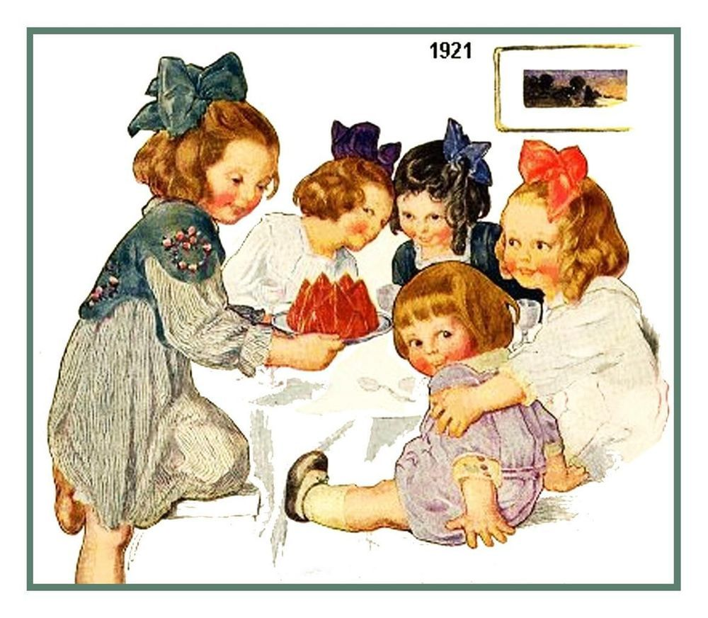 NEW Bessie Pease Gutmann's Dolls Little Girls Playing Counted Cross Stitch Chart