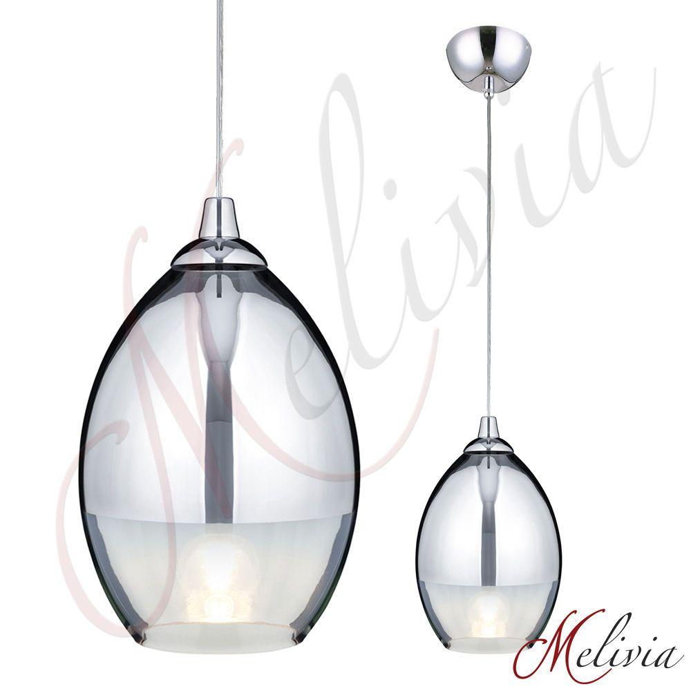 Moderne Glas Pendellampe Chrom Klar Ø17cm Pendelleuchte Hängelampe ...