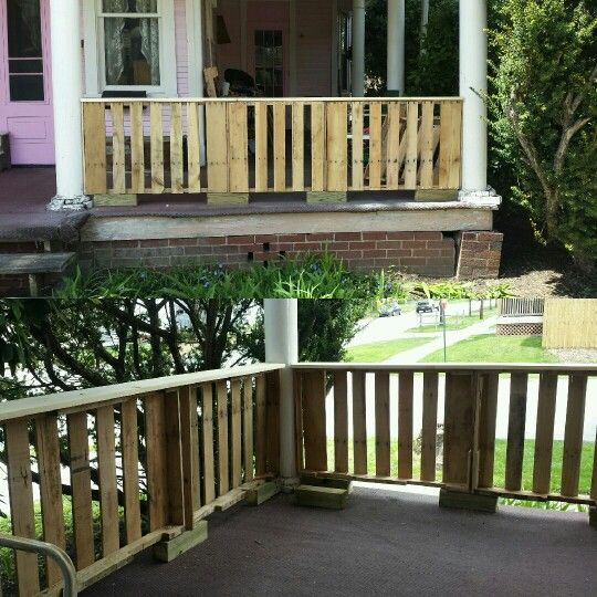 pallet porch railing 35$. watching the contractor that quoted us ... - Patio Handrail Ideas