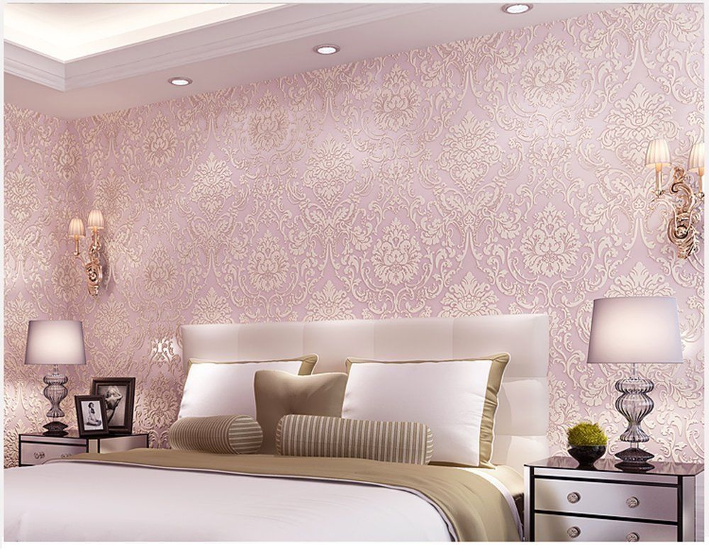 Damask Contact Paper Mural Roll Self Adhesive Non Woven Floral Wallpaper Pink Ebay Pink Damask Wallpaper Pink Wallpaper For Walls Pink Wallpaper Bedroom